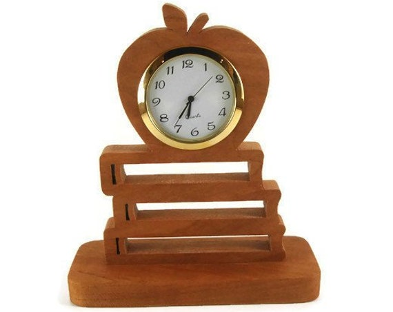 Teachers Desk Clock Featuring A Apple And School Books With 2 Inch Quartz Clock Handmade From Cherry Wood By KevsKrafts