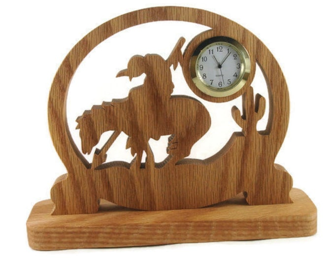 End Of Trail Horse Rider Quartz Clock Handmade From Oak Wood By KevsKrafts