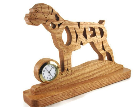 Boxer Dog Un-Cropped Ears Desk Or Shelf Clock Handcrafted With Scroll Saw From Oak Wood By KevsKrafts