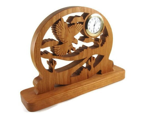 Eagle Scene Desk Or Shelf Quartz Clock Handmade From Cherry Wood By KevsKrafts