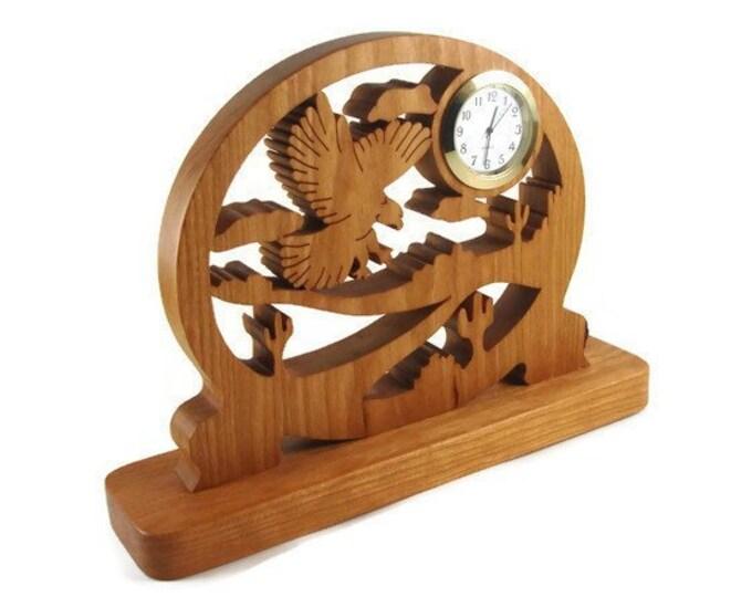 Eagle Scene Desk Or Shelf Quartz Clock Handmade From Cherry Wood By KevsKrafts