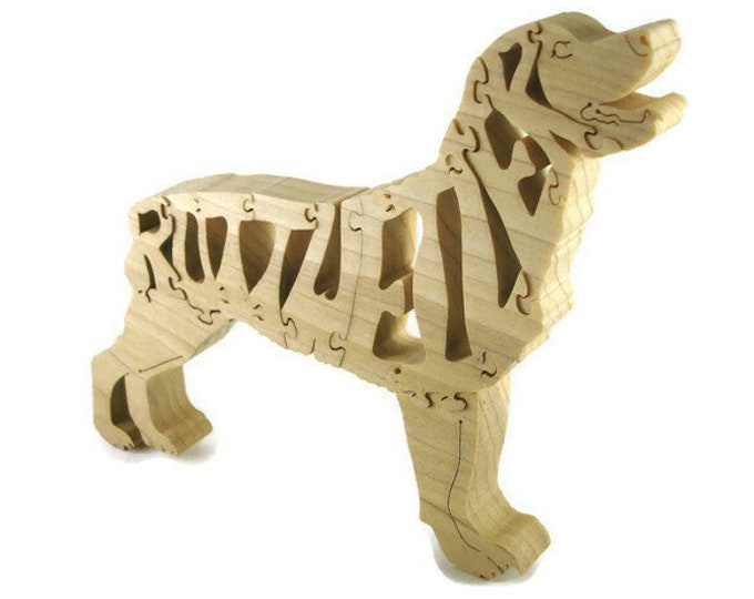 Rottweiler Wood Scroll Saw Puzzle Handmade From Poplar Hardwood