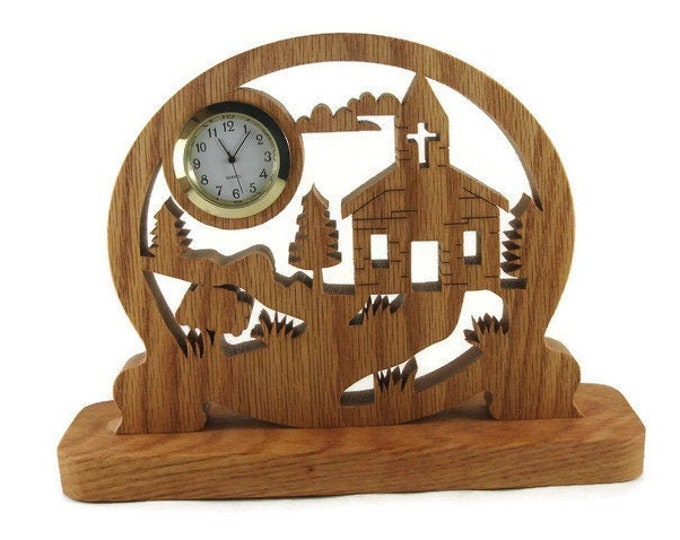 Country Church Scene Desk Clock Handmade From Oak Wood By KevsKrafts