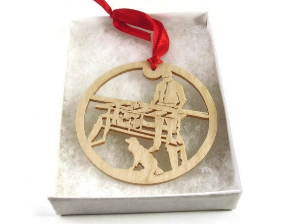 Woodworker and Dog Christmas Ornament Handmade from Birch Wood By KevsKrafts
