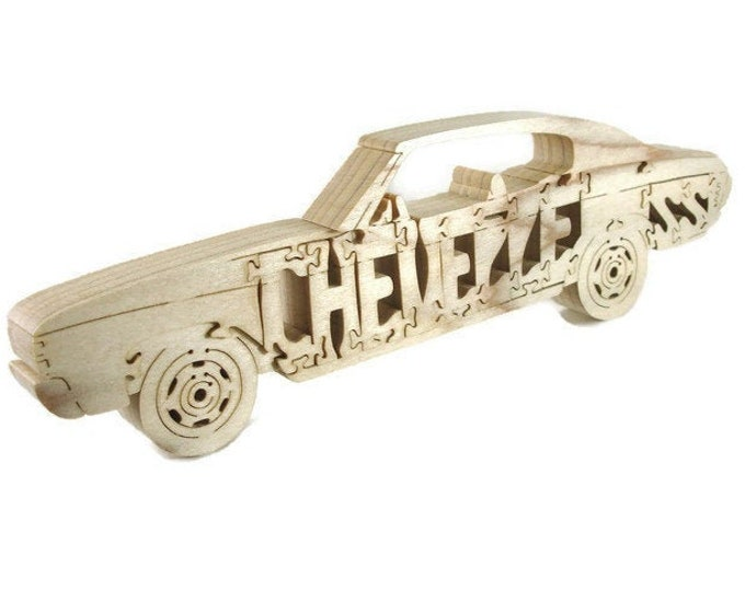 1971-72 Chevelle SS Wood Scroll Saw Puzzle Handmade From Poplar Lumber