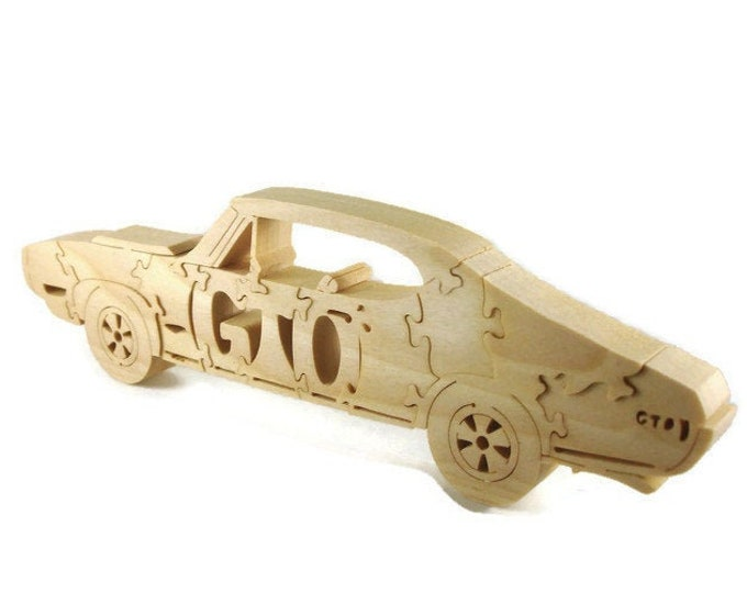 1969 Pontiac GTO Wood Scroll Saw Puzzle Handmade From Poplar Lumber