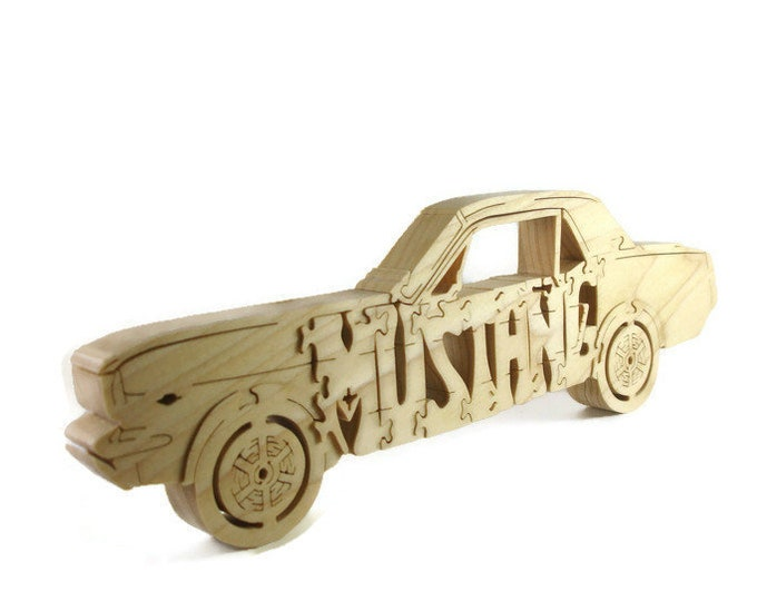 1964-1966 Mustang Coupe Wood Scroll Saw Puzzle Handmade By KevsKrafts
