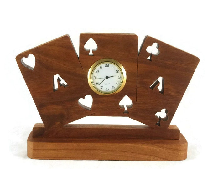 Playing Cards Desk Clock Handmade From Cherry Wood By KevsKrafts