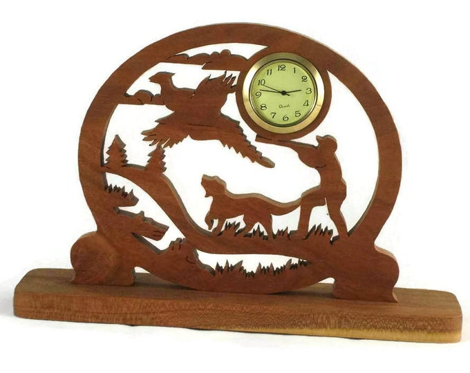Pheasant Hunting Scene Desk Clock Handmade From Cherry Wood, NFB-1 Pheasant Hunter, Hunting Dog, Bird Dog, Unique Gifts by KevsKrafts