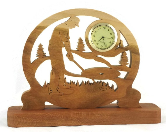 Male Golf Scene Desk Clock Handmade From Cherry Wood, Golfing Clock, Golfer Clock, Desk Clock BN-2