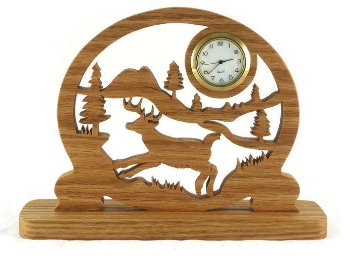 Deer Country Scene Desk Clock Handmade From Oak Wood By KevsKrafts