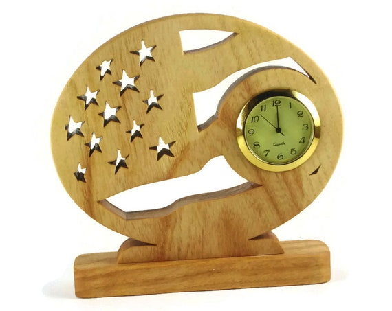 Patriotic American Flag Desk Or Shelf Clock Handmade From Ash Wood By KevsKrafts