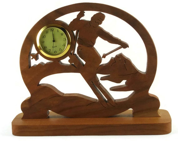 Male Ski Scene Desk Or Shelf Clock Handmade From Cherry Wood By KevsKrafts  NFB-1, Cross Country Skier, Downhill Skiing