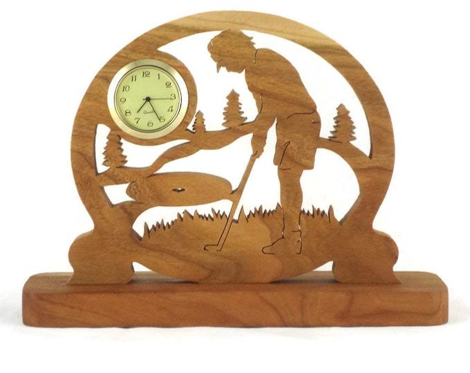 Female Golf Scene Desk Clock Handmade From Cherry Wood, Golfing Clock, Golfer Clock, Desk Clock NFB-1
