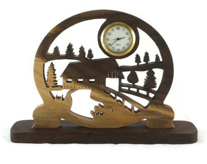 Covered Bridge Scene Desk Clock Handmade From Walnut Wood By KevsKrafts