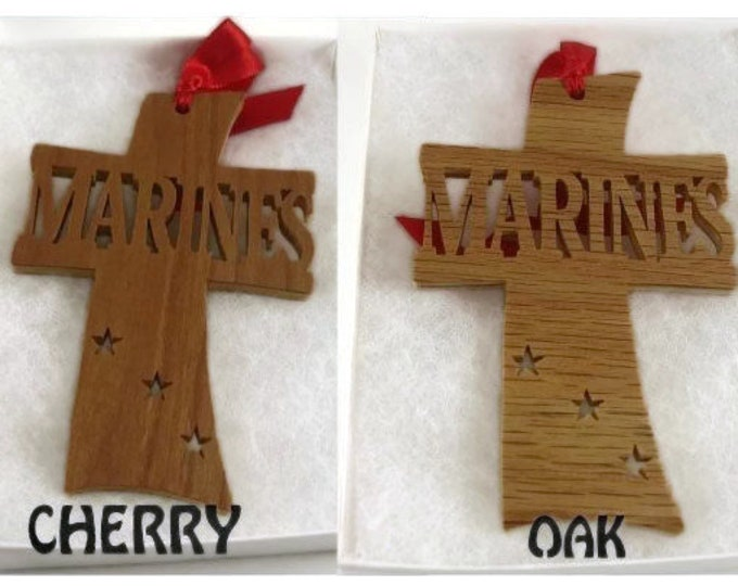 Marines Military Cross Christmas Ornament Handmade From Cherry Or Oak Plywood By KevsKrafts BN-8