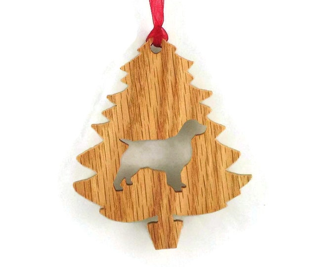 Spaniel Christmas Tree Ornament Handmade From Oak Wood