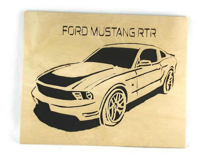 Ford Mustang RTR 8 x 10 Inch Wood Art Portrait Handmade From Birch Plywood By KevsKrafts, Muscle Car, American Muscle, Mancave Decor,