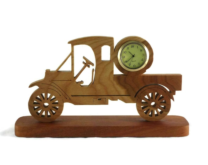 Antique Model A Style Truck Desk Clock Handmade From Cherry Wood, Pickup Truck, Ford Model A, Unique Gift, Man Cave, Gift For Him, BN-4