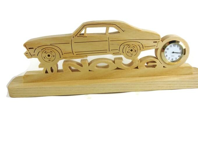 1970 Chevy Nova Desk Or Shelf Clock Handmade From Ash Wood By KevsKrafts