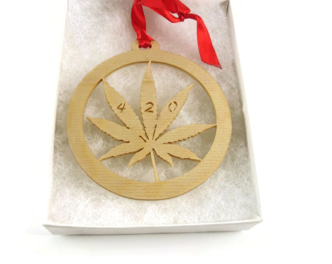 Cannabis Marijuana Leaf Christmas Ornament Handmade From Birch Wood By KevsKrafts BN-8