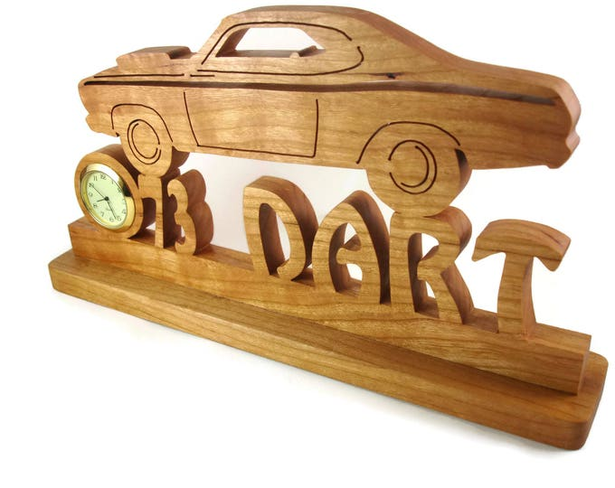 Vintage Style Dodge Dart Desk Or Shelf Clock Handmade From Cherry Wood By KevsKrafts