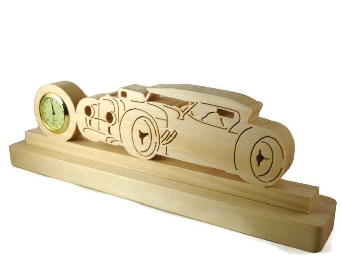 Ragtop Streetrod Desk Or Shelf Clock Handmade From Pine Wood. Hotrod, Street Rod, Convertible, Droptop