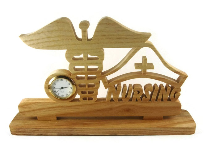 Nurse Desk Or Shelf Clock Handmade From Ash Wood By KevsKrafts NFB-1