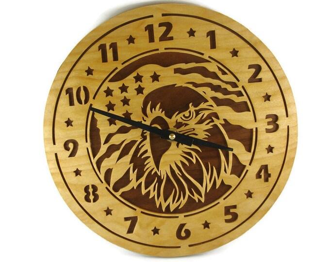 American Eagle Wood Wall Hang Clock
