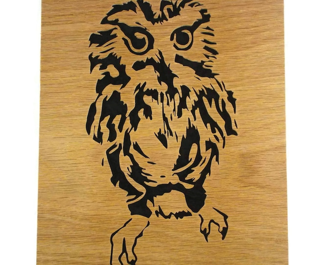 Owl Wood Wall Hanging Portrait Handmade From Oak Or Birch