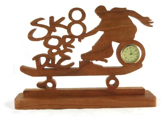 Skateboarder Desk / Shelf Clock Handmade From Cherry Wood, Kids Room Decor, Teen Gift, Skateboarding,