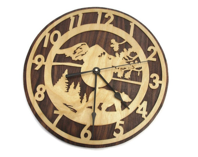 Bear Scene With Numbers Wall Clock Handmade From Birch And Walnut Plywood By KevsKrafts
