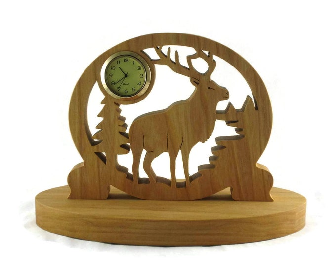 Elk Mini Desk Clock Handcrafted from Maple Wood