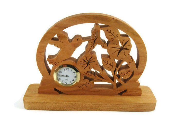 Humming Bird Getting Nectar From A Trumpet Vine Desk Or Shelf Clock Handmade From Cherry Wood By KevsKrafts