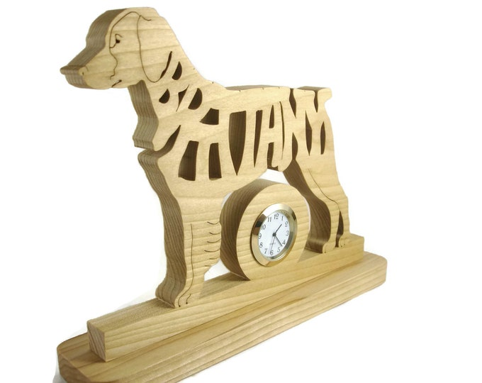 Brittany Dog Quartz Desk Or Shelf Clock Handmade From Poplar Wood By KevsKrafts