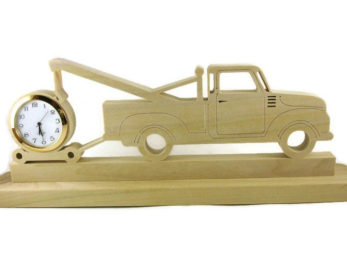 Tow Truck Desk Clock Handmade From Poplar Wood By KevsKrafts