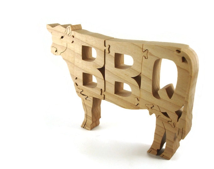 BBQ Cow Wooden Scroll Saw Puzzle Handmade By KevsKrafts
