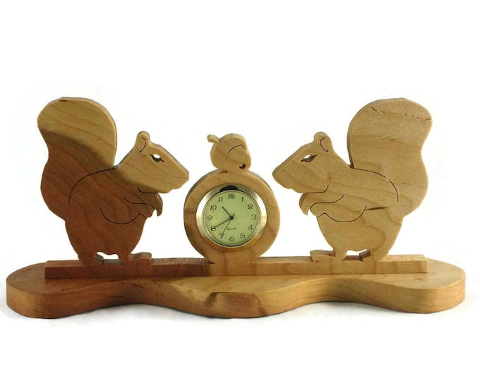 Squirrels And Acorn Nuts Desk Or Shelf Clock Handmade From Cherry Wood By KevsKrafts