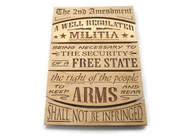 2nd Amendment Wall Hanging Word Art Sign Hand Cut From Birch And Walnut Plywood By KevsKrafts