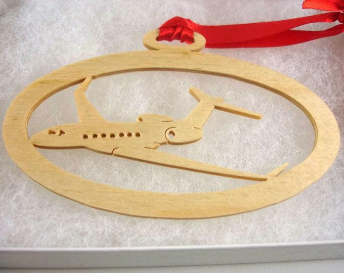 Gulfstream G-550 Christmas Ornament Handmade From Birch Wood by KevsKrafts BN-6-001