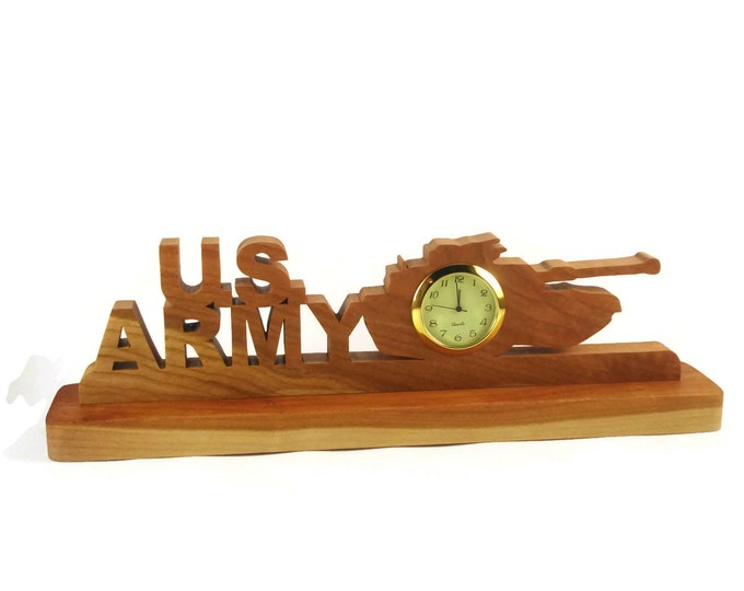 US Army Desk Or Shelf Clock Handmade From Cherry Wood By KevsKrafts Woodworking, Army Tank BN-4