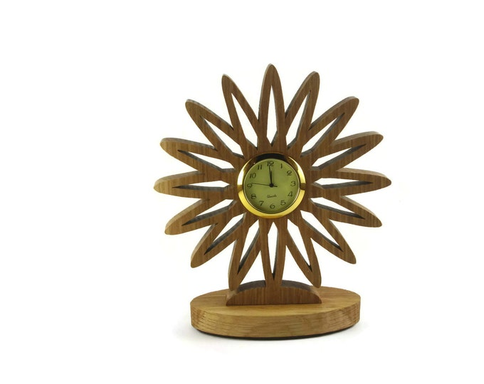 Flower Desk Or Shelf Clock Handmade From Oak Wood By KevsKrafts Woodworking, Office Decor, Desk Accessories