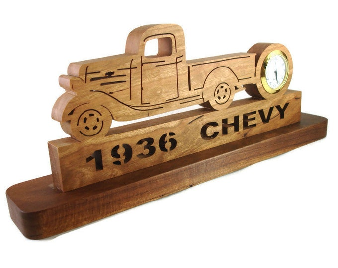 1936 Chevy Pickup Truck Desk Clock Handmade From Cherry Wood