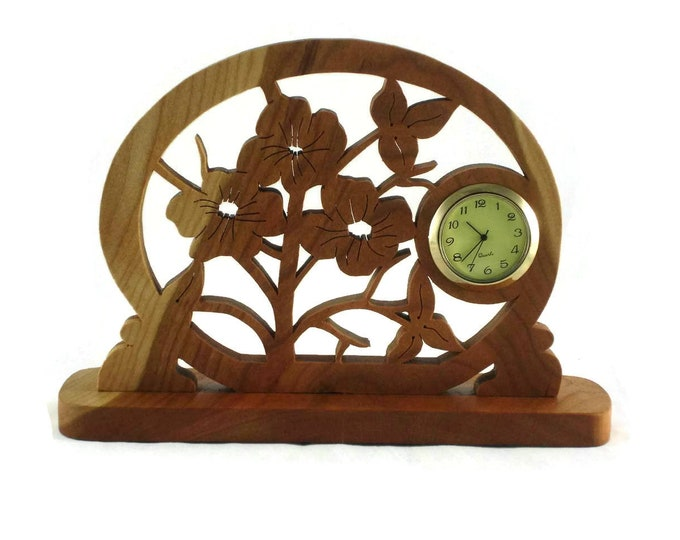 Wooden Flower Pansies Desk / Shelf Clock Handmade From Cherry Wood, Floral Clock, Unique Decor, Housewarming Gift,