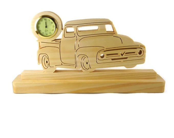 1956 Ford F100 Pickup Truck Desk Or Shelf Clock Handmade From Maple Wood By KevsKrafts, Ford F1