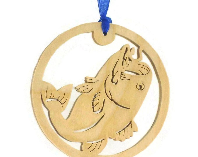 Bass Fish Fishing Christmas Ornament Handmade From Birch Wood For the Fisherman, Outdoorsman, Sportsman BN-9