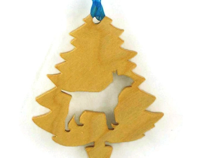 Bull Terrier Christmas Tree Ornament Handmade from Poplar Wood