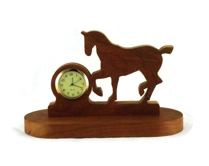 Prancing Horse Desk Or Shelf Clock Handmade From Cherry Wood, Horse Clock,Trotting Horse,