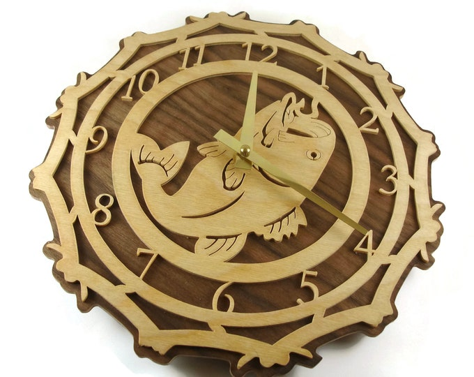 Bass Fish Fishing Wall Hanging Clock Handmade From Birch And Walnut Wood By KevsKrafts