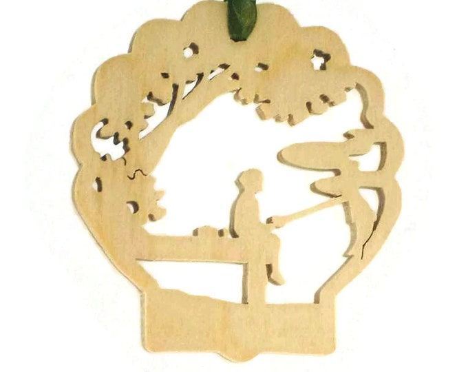 Dock Fishing Scene Christmas Ornament Handmade From Birch Plywood